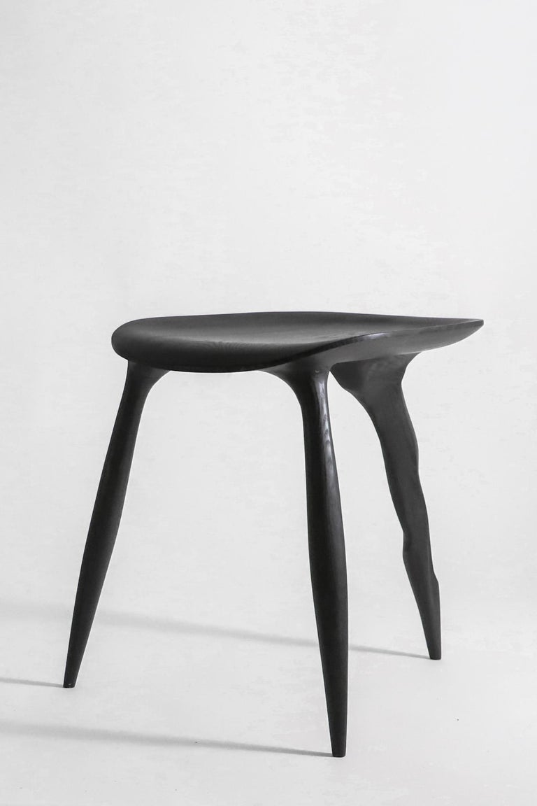 Oak Console Desk with Stool, Hand-Sculpted by Cedric Breisacher For Sale 5