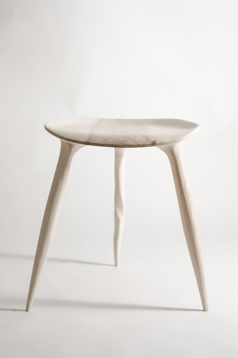 Modern Oak Console Desk with Stool, Hand-Sculpted by Cedric Breisacher For Sale