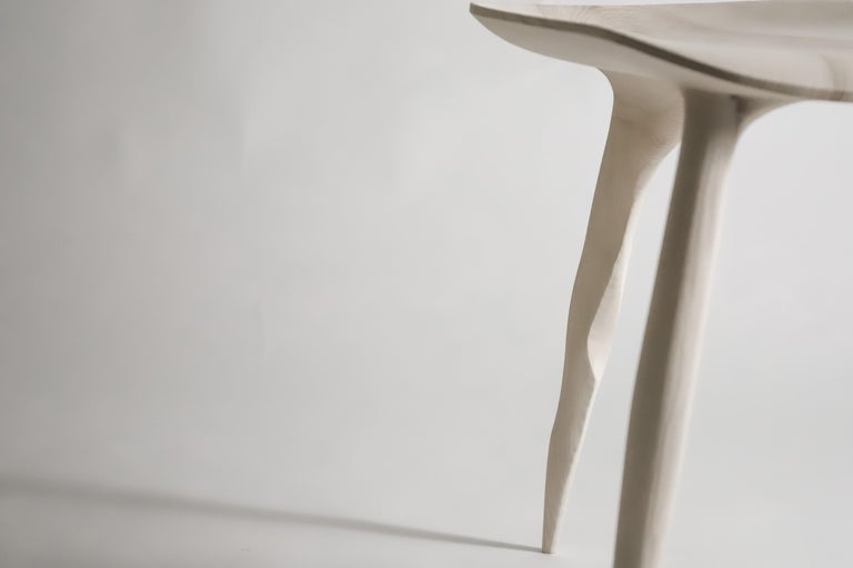 French Oak Console Desk with Stool, Hand-Sculpted by Cedric Breisacher For Sale