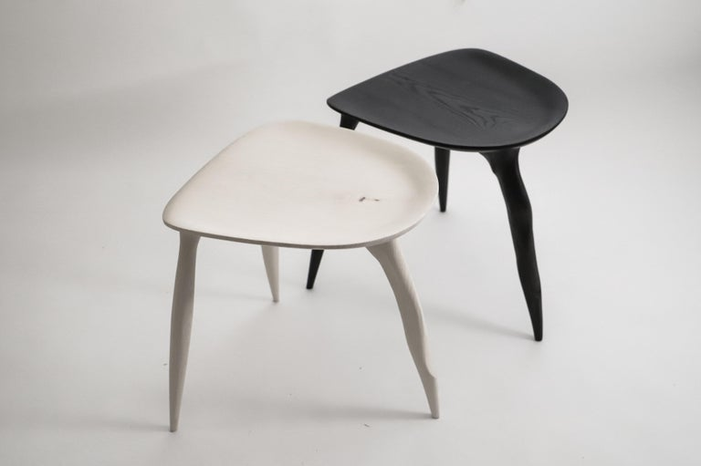 Oak Console Desk with Stool, Hand-Sculpted by Cedric Breisacher In New Condition For Sale In Geneve, CH