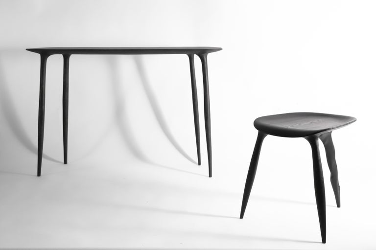 Contemporary Oak Console Desk with Stool, Hand-Sculpted by Cedric Breisacher For Sale