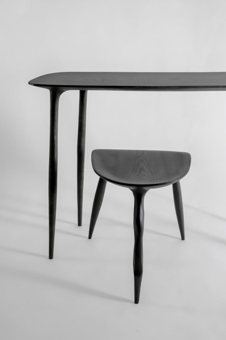 Oak Console Desk with Stool, Hand-Sculpted by Cedric Breisacher For Sale 1