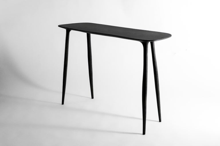 Oak Console Desk with Stool, Hand-Sculpted by Cedric Breisacher For Sale 2