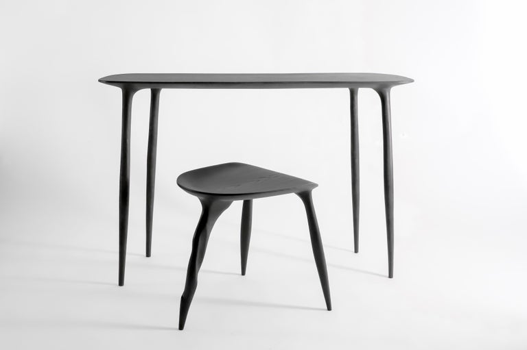 Oak Console Desk with Stool, Hand-Sculpted by Cedric Breisacher For Sale 3