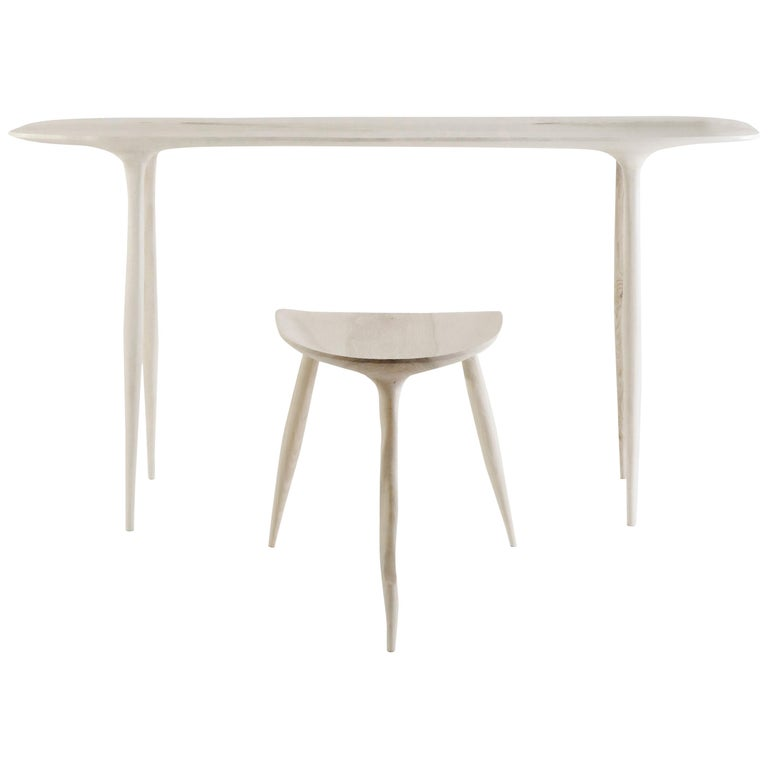 Oak Console Desk with Stool, Hand-Sculpted by Cedric Breisacher For Sale