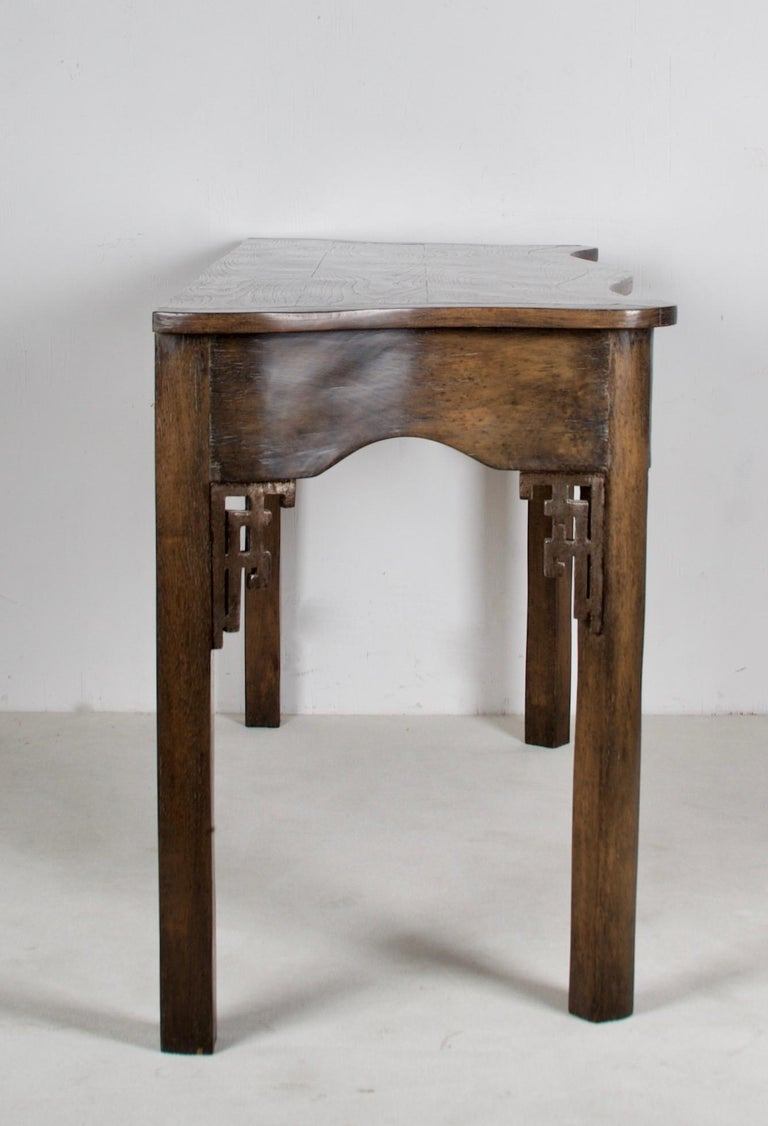 Modern Oak Console, Handcrafted with a Dark Oak Finish For Sale