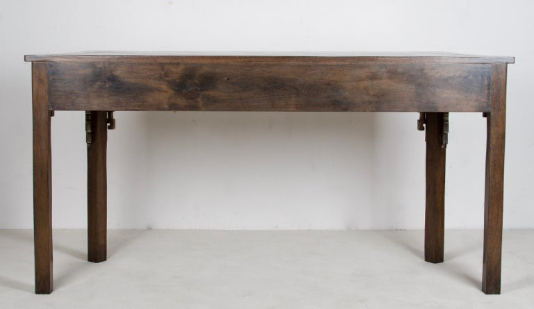 American Oak Console, Handcrafted with a Dark Oak Finish For Sale