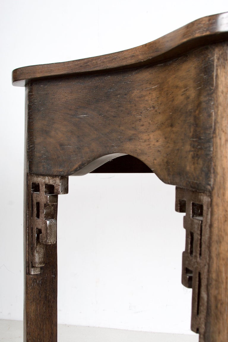 Oak Console, Handcrafted with a Dark Oak Finish For Sale 1