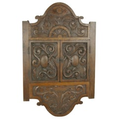 Oak Corner Cabinet, Carved Cabinet, Hanging Cabinet, Scotland, 1880
