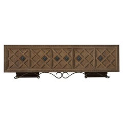 Oak Credenza in Charles Dudouyt Style