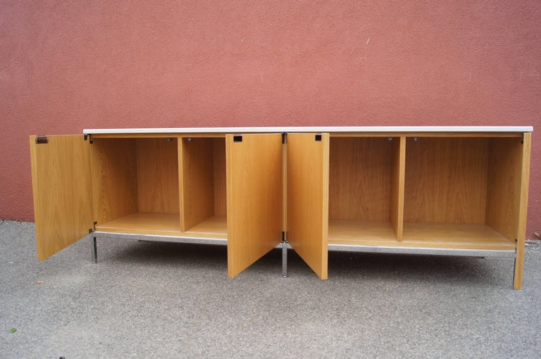 Mid-Century Modern Oak Credenza with Marble Top by Florence Knoll for Knoll For Sale