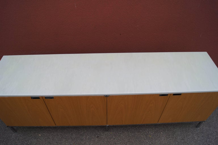Polished Oak Credenza with Marble Top by Florence Knoll for Knoll For Sale