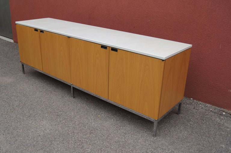 Contemporary Oak Credenza with Marble Top by Florence Knoll for Knoll For Sale