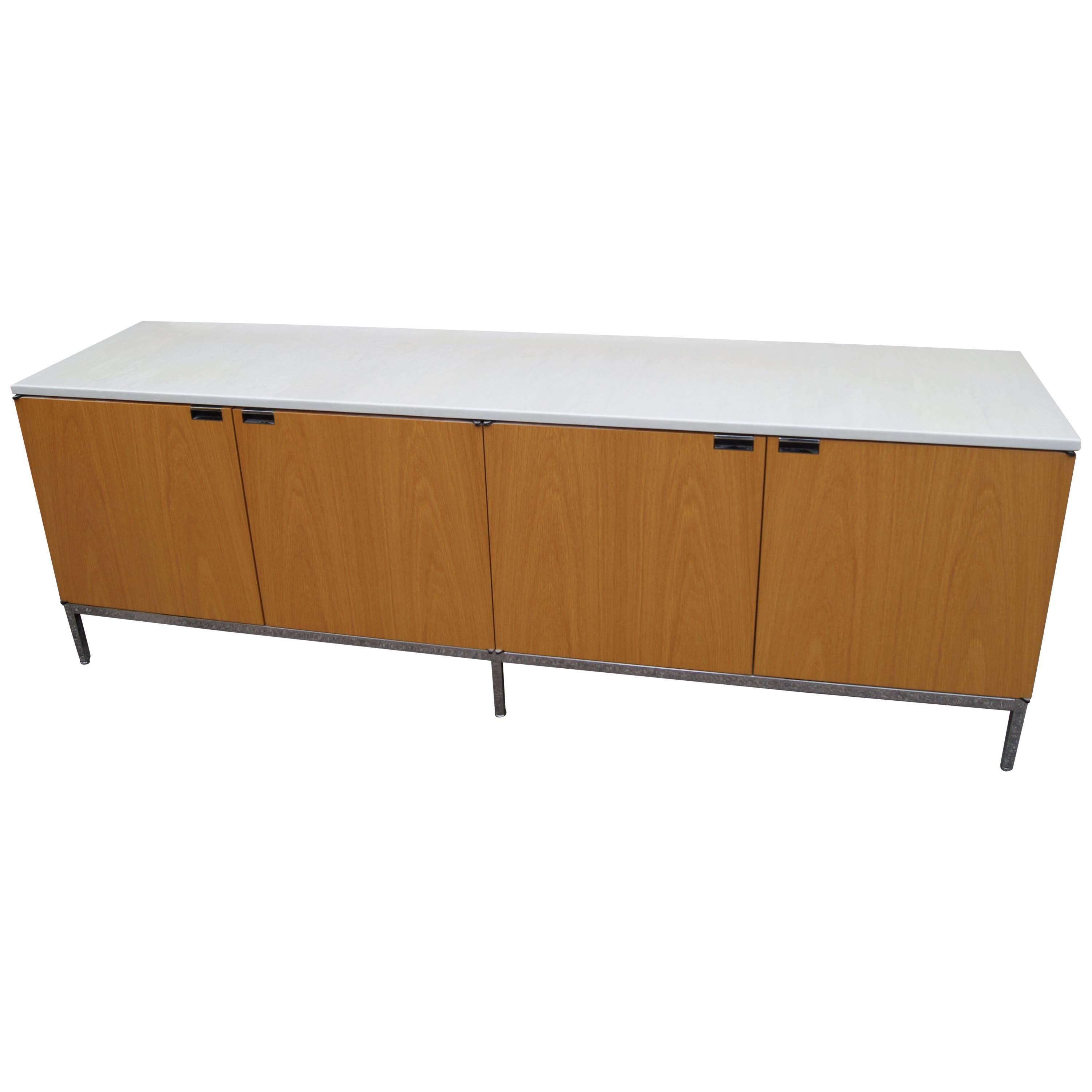 Oak Credenza with Marble Top by Florence Knoll for Knoll