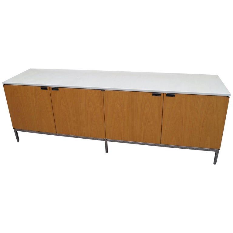 Oak Credenza with Marble Top by Florence Knoll for Knoll For Sale