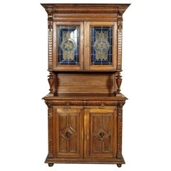 Oak Cupboard with Stained Glass, circa 1910