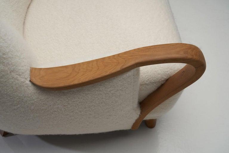 Oak Danish Cabinetmaker Easy Chair, Denmark, ca 1950s For Sale 9