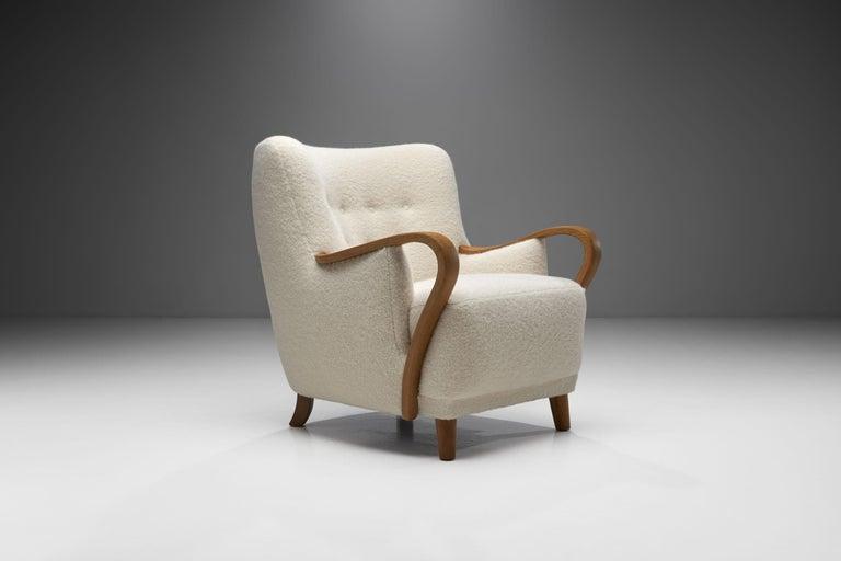 Oak Danish Cabinetmaker Easy Chair, Denmark, ca 1950s In Good Condition For Sale In Utrecht, NL