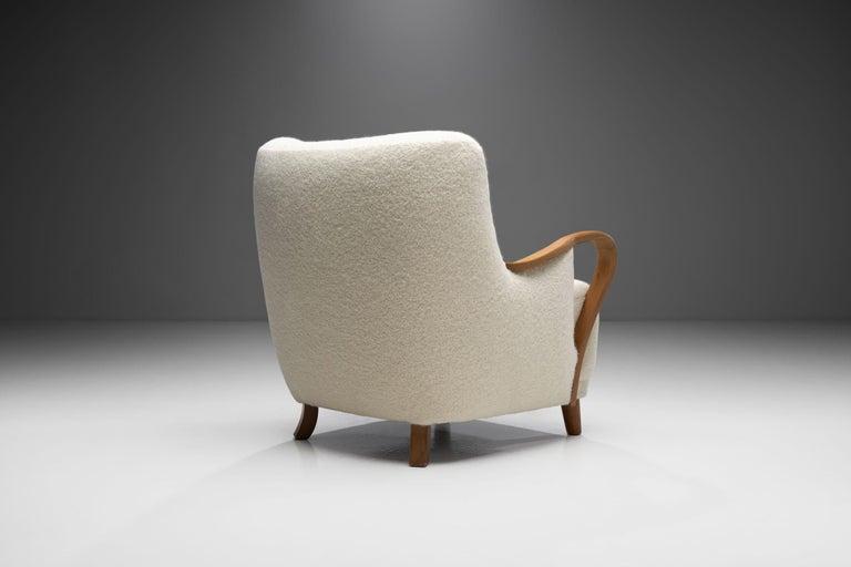 Wool Oak Danish Cabinetmaker Easy Chair, Denmark, ca 1950s For Sale