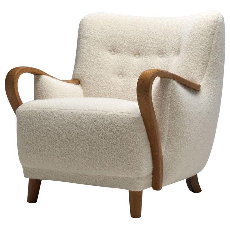 Oak Danish Cabinetmaker Easy Chair, Denmark, ca 1950s For Sale