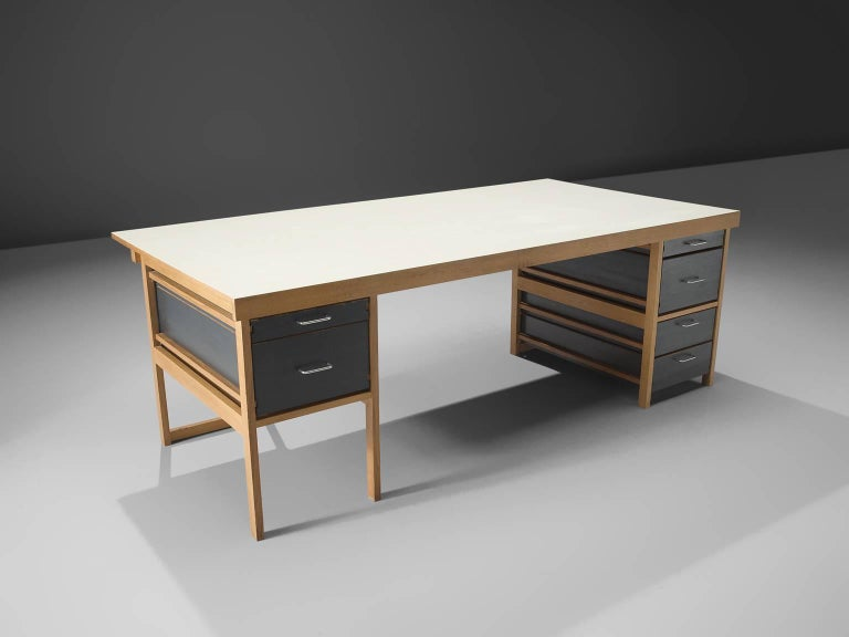 Mid-Century Modern Benedikt Rohner for Oswald Oak Executive Desk For Sale