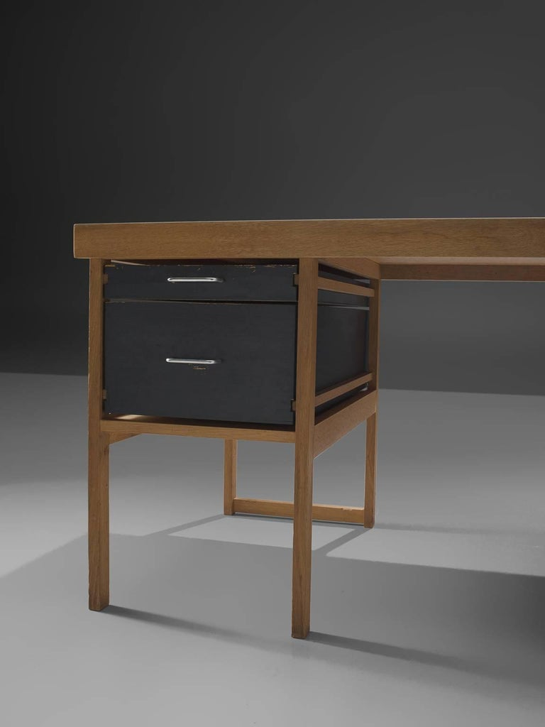 Mid-20th Century Benedikt Rohner for Oswald Oak Executive Desk For Sale