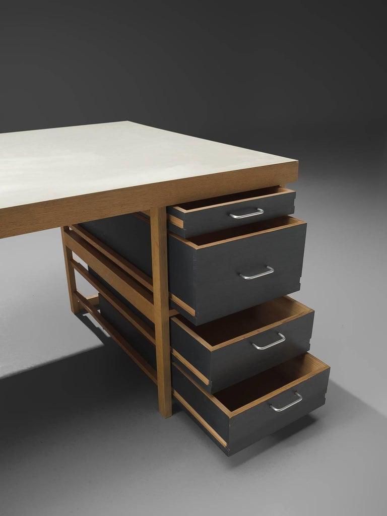 Metal Benedikt Rohner for Oswald Oak Executive Desk For Sale
