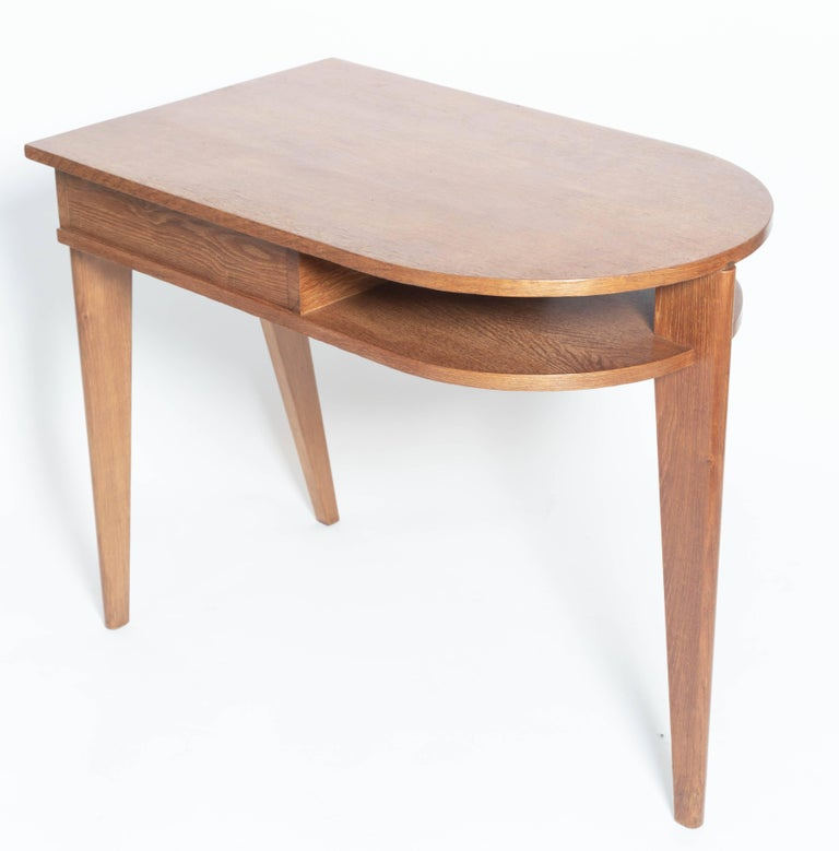 Mid-Century Modern Oak Desk with Three Legs, in the Manner of Jean Prouve, France For Sale