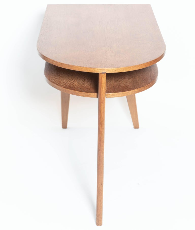 French Modern Oak Tripod Desk in the Manner of Jacques Adnet For Sale