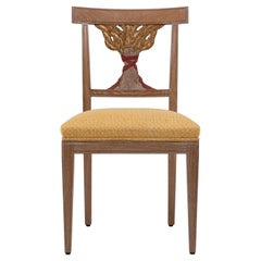 Oak Dining Chair with Decorative Ears of Wheat Hand Carved, Made in Italy