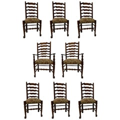 Oak Dining Chairs English Ladder Back Set of Eight, 2 Arms 6 Side Chairs