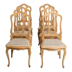 Antique French Country Oak Dining Chairs with Linen Seat