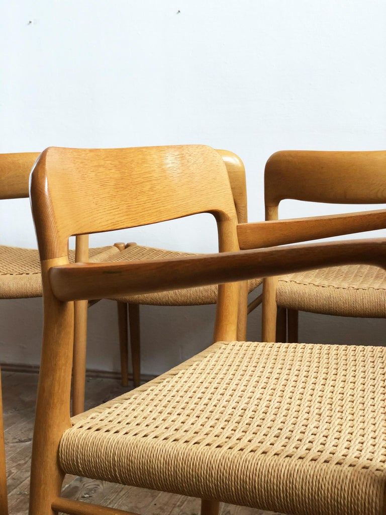 Oak Dining Chairs, Model 56 and 75 by Niels O. Møller with Paper Cord, Set of 6 For Sale 4