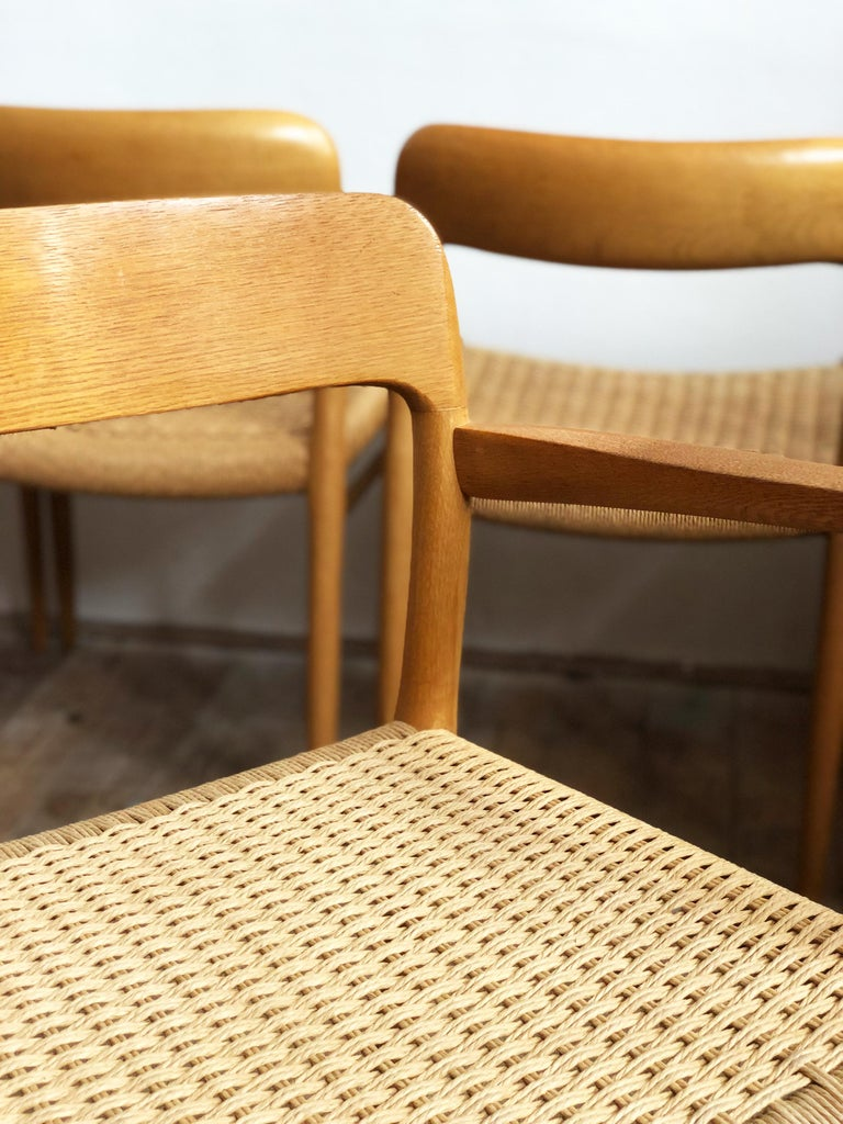 Oak Dining Chairs, Model 56 and 75 by Niels O. Møller with Paper Cord, Set of 6 For Sale 5