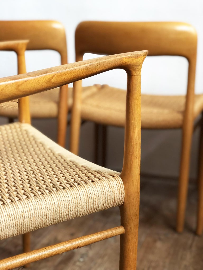 Oak Dining Chairs, Model 56 and 75 by Niels O. Møller with Paper Cord, Set of 6 For Sale 6