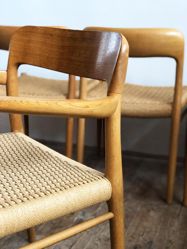 Oak Dining Chairs, Model 56 and 75 by Niels O. Møller with Paper Cord, Set of 6 For Sale 7