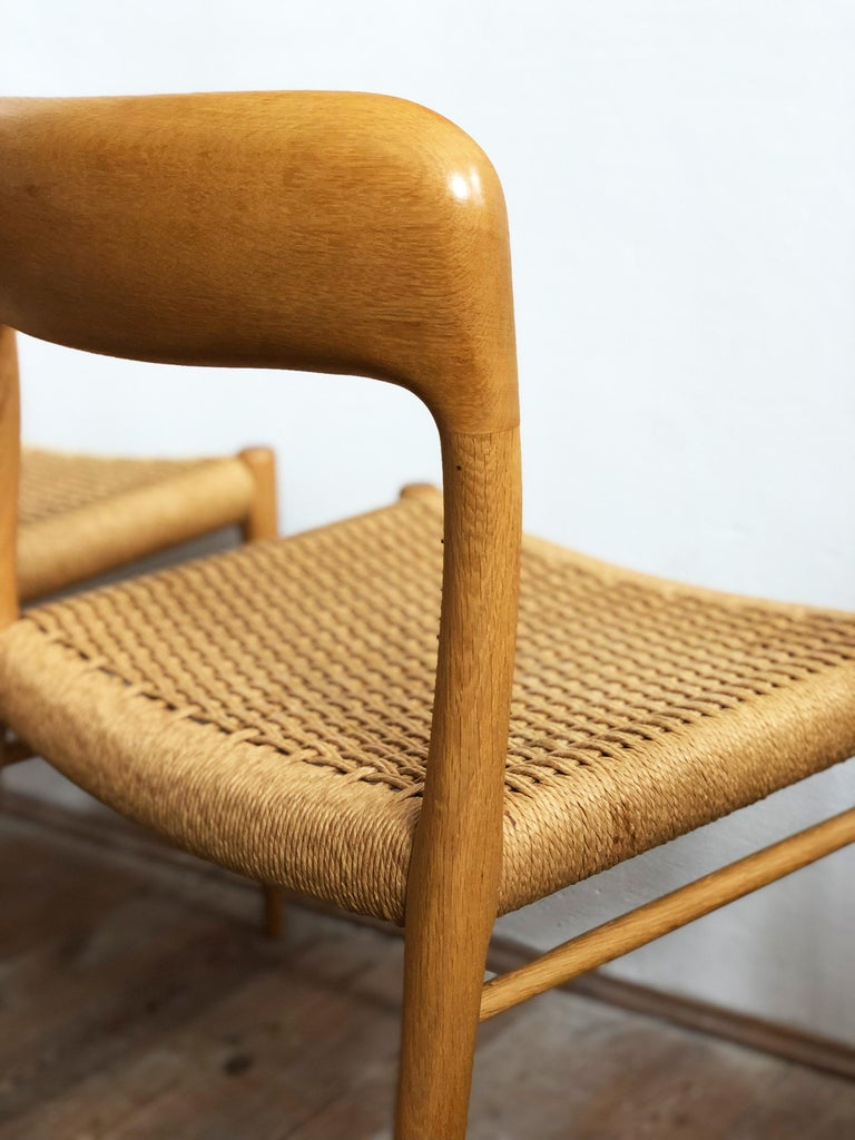Oak Dining Chairs, Model 56 and 75 by Niels O. Møller with Paper Cord, Set of 6 For Sale 8