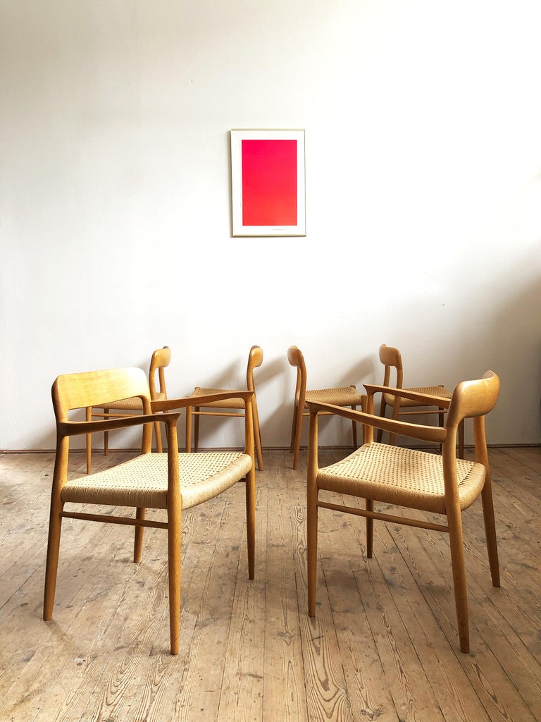 Mid-Century Modern Oak Dining Chairs, Model 56 and 75 by Niels O. Møller with Paper Cord, Set of 6 For Sale