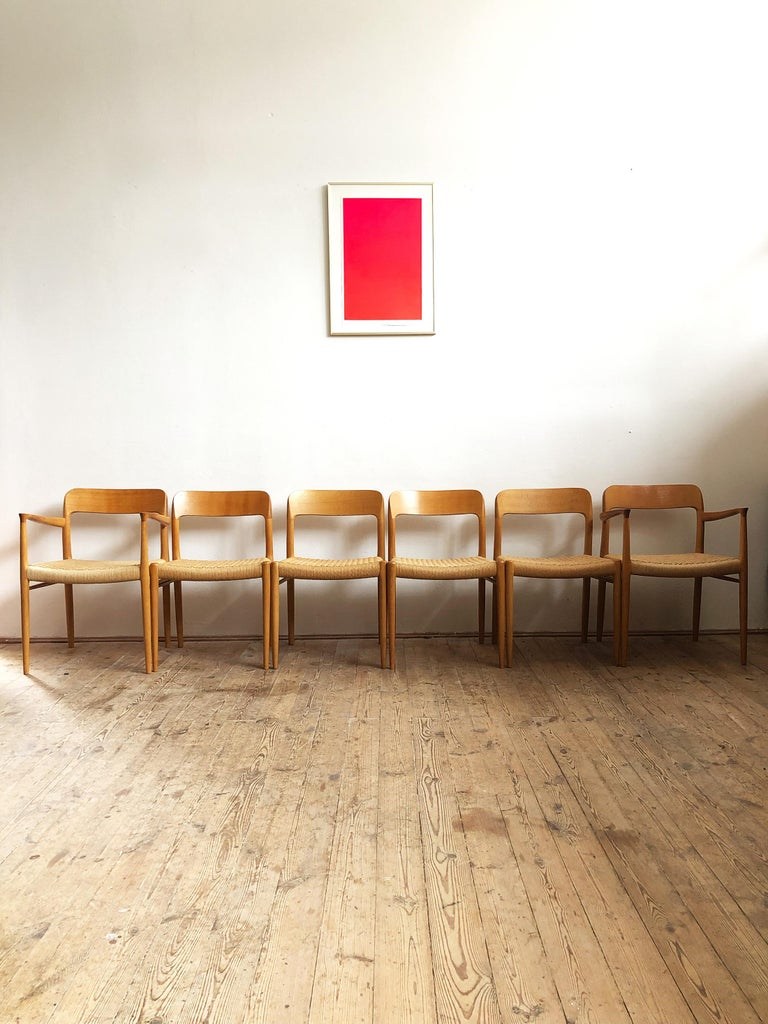 Danish Oak Dining Chairs, Model 56 and 75 by Niels O. Møller with Paper Cord, Set of 6 For Sale