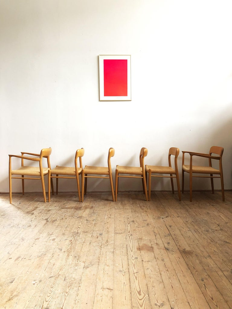 Oak Dining Chairs, Model 56 and 75 by Niels O. Møller with Paper Cord, Set of 6 In Good Condition For Sale In Munich, Bavaria