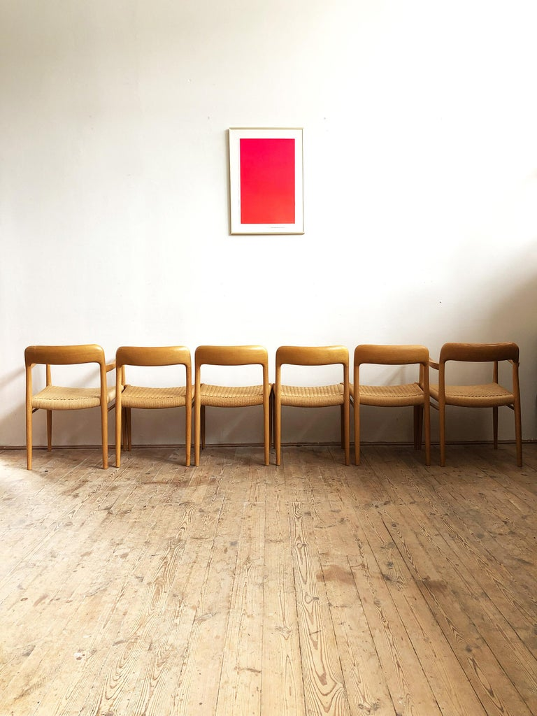 Mid-20th Century Oak Dining Chairs, Model 56 and 75 by Niels O. Møller with Paper Cord, Set of 6 For Sale