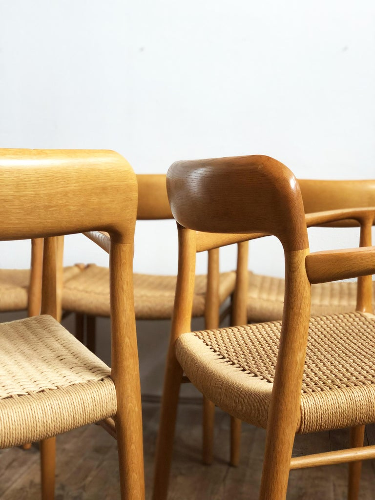 Papercord Oak Dining Chairs, Model 56 and 75 by Niels O. Møller with Paper Cord, Set of 6 For Sale