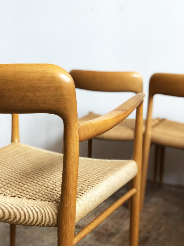 Oak Dining Chairs, Model 56 and 75 by Niels O. Møller with Paper Cord, Set of 6 For Sale 1