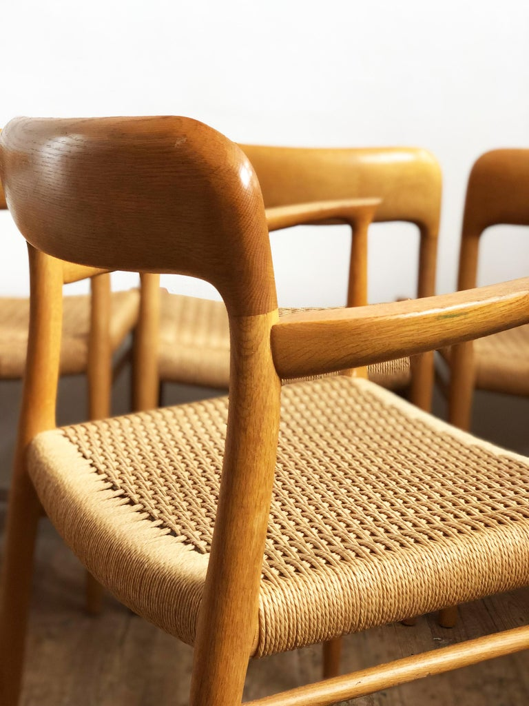 Oak Dining Chairs, Model 56 and 75 by Niels O. Møller with Paper Cord, Set of 6 For Sale 2