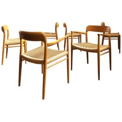 Oak Dining Chairs, Model 56 and 75 by Niels O. Møller with Paper Cord, Set of 6