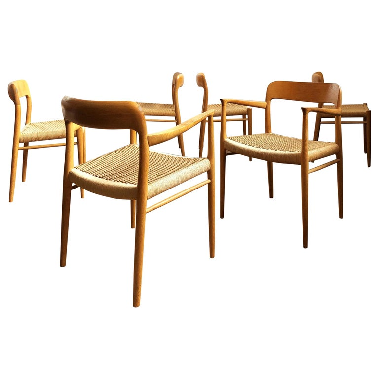 Oak Dining Chairs, Model 56 and 75 by Niels O. Møller with Paper Cord, Set of 6 For Sale