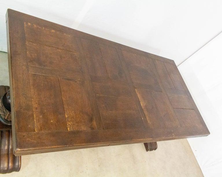 Oak Dining Table Basque Spanish Renaissance Revival Refectory Extends Midcentury For Sale 5