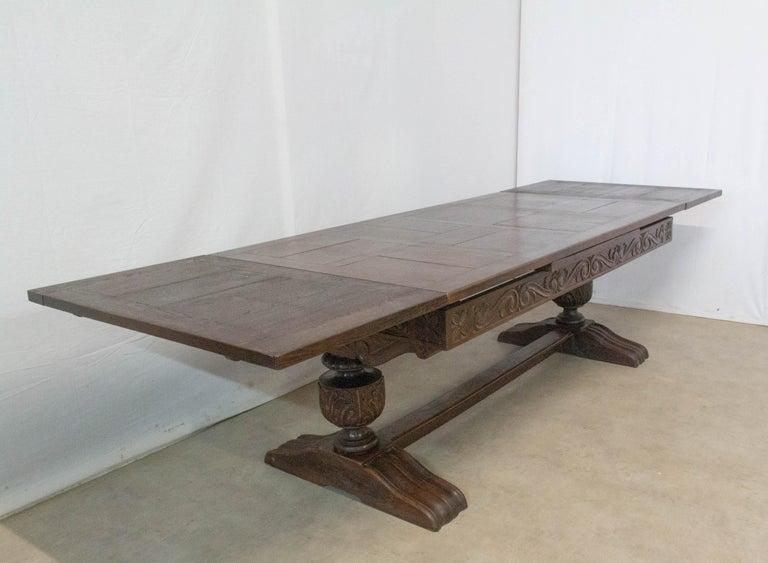 Oak Dining Table Basque Spanish Renaissance Revival Refectory Extends Midcentury For Sale 9