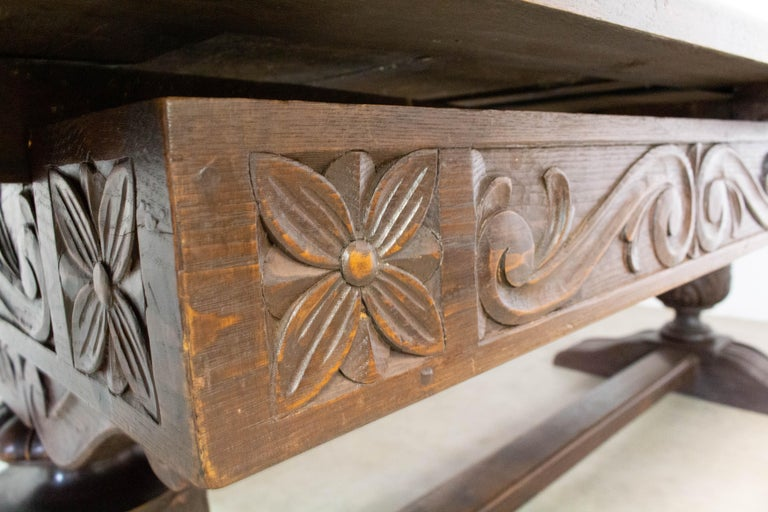 Oak Dining Table Basque Spanish Renaissance Revival Refectory Extends Midcentury For Sale 10