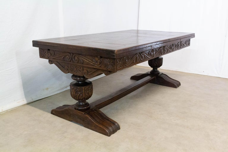 Carved Oak Dining Table Basque Spanish Renaissance Revival Refectory Extends Midcentury For Sale